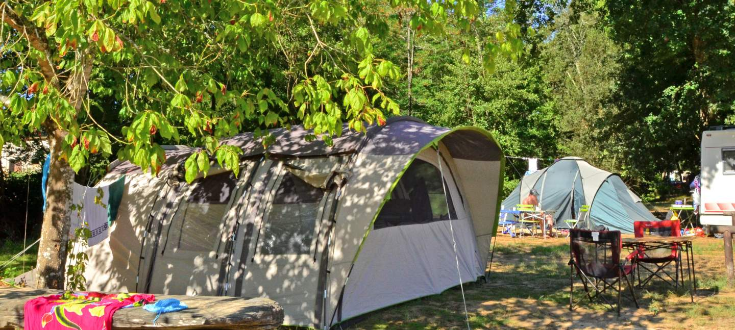 Tent pitch at Camping La Clairière